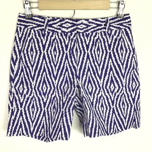 J. McLaughlin Shorts Purple White Geometric Ikat